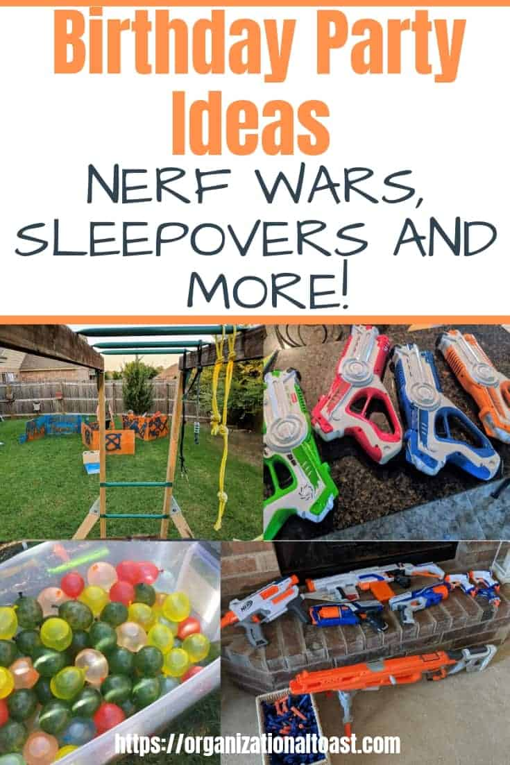 Check out these birthday party ideas for boys on a budget. Tips on setting up nerf wars, throwing s successful sleepover and lots of fun ideas the kids will love! These are all ideas we used for our son's 8th birthday party! #birthdaypartyideas
