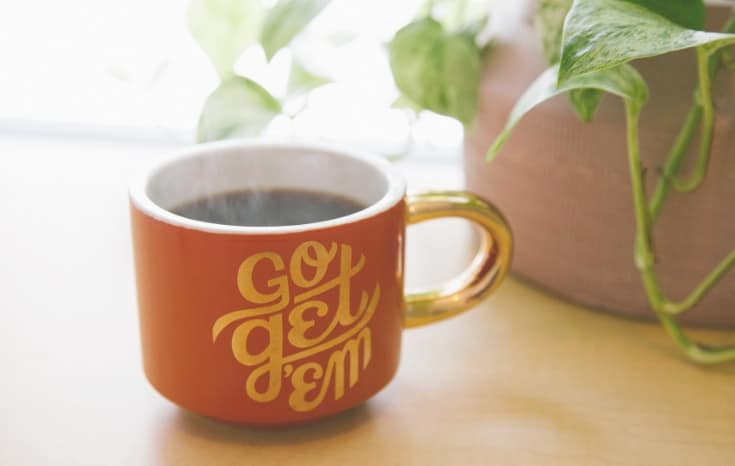"coffee mug inscribed with ""go get 'em"""