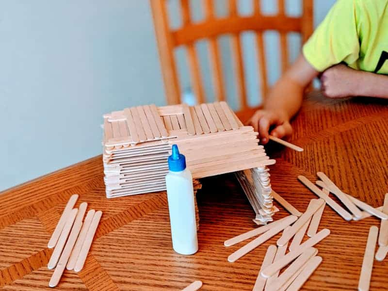 Popsicle Stick House - Indoor Activities for Kids