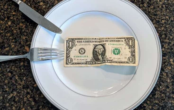 fork, knife, dinner plate and dollar bill