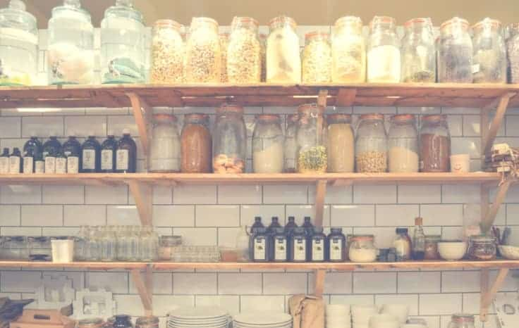 Pantry shelves with glass containers