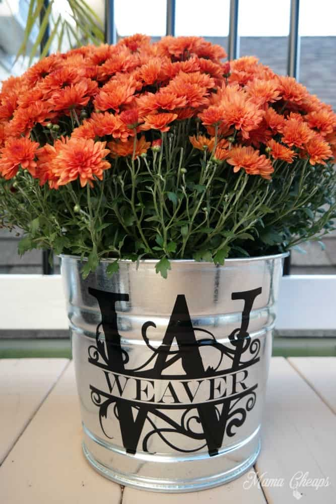 DIY Fall Mum Bucket