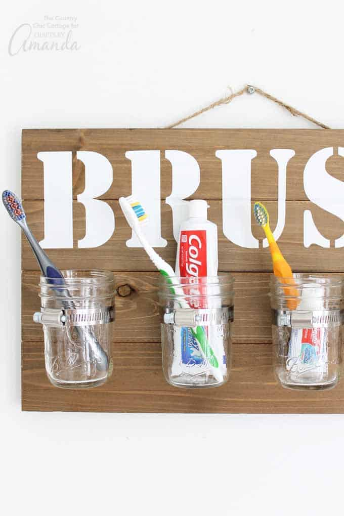 DIY Mason Jar Bathroom Organizer