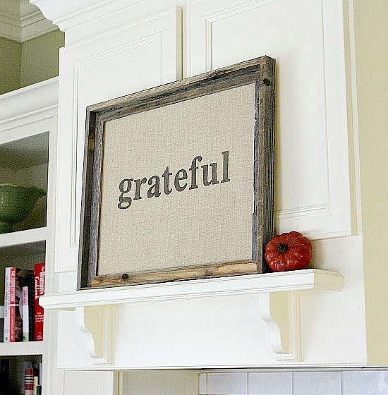 DIY Framed Burlap Grateful Sign