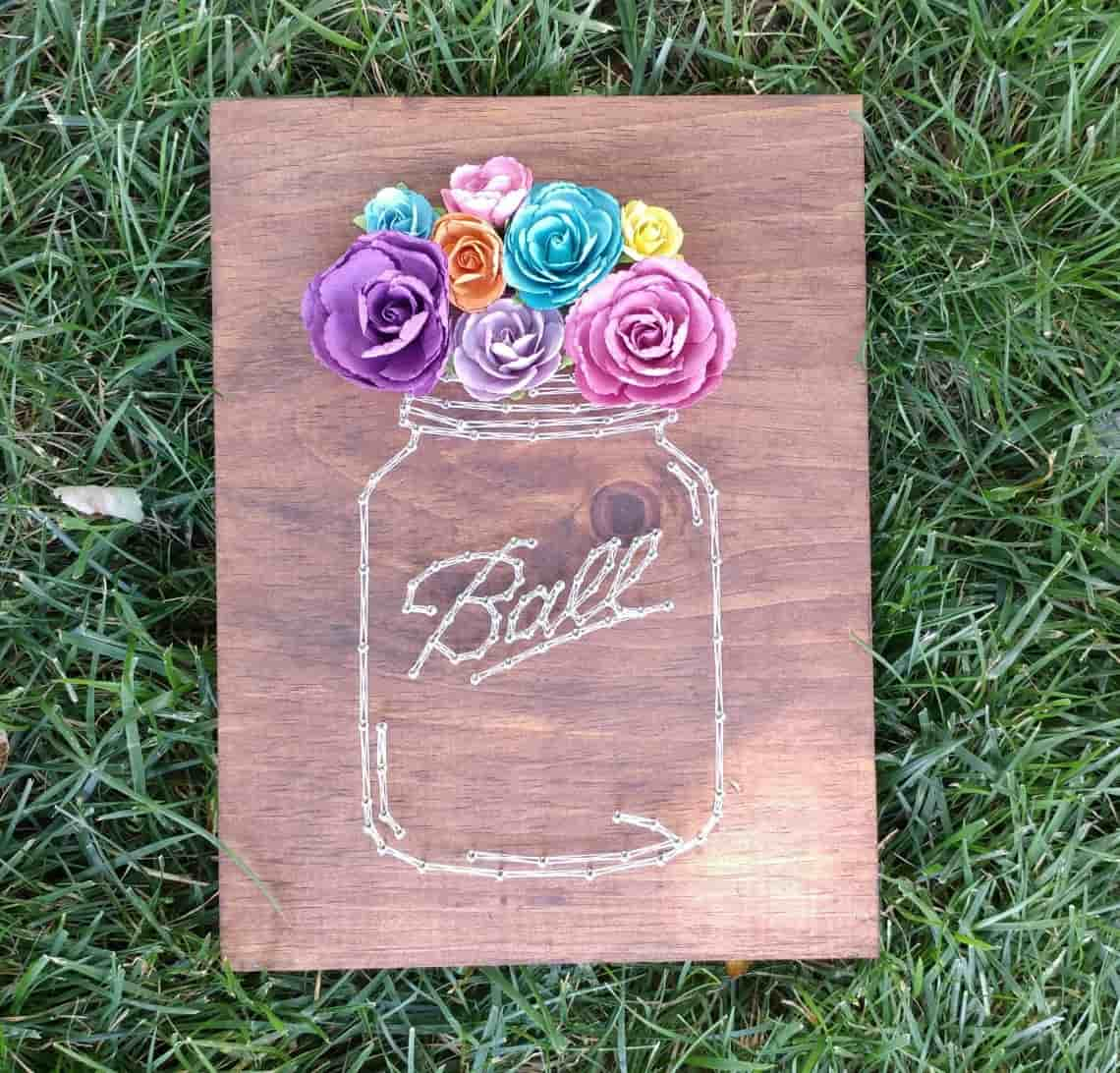 DIY Farmhouse Decor Mason Jar String Art