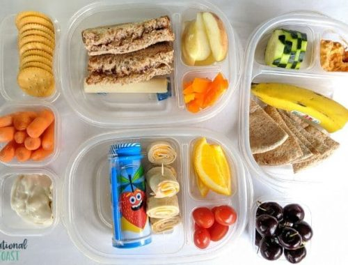 multiple school lunches laid out