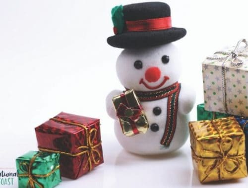 snow man and Chirstmas presents