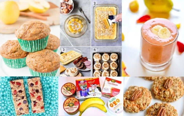 on the go breakfast ideas collage
