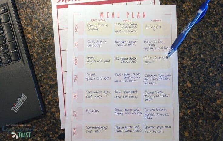Meal Plan Written Out
