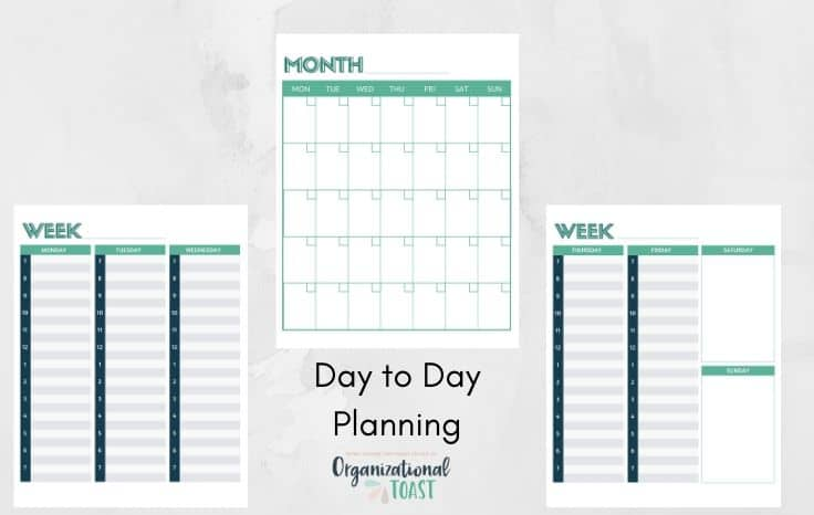 weekly and monthly planner pages