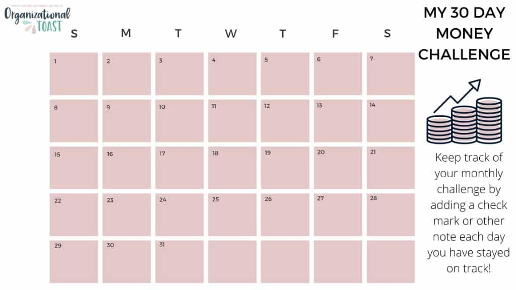 30 day personal finance challenge tracker