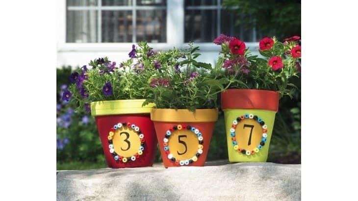 painted garden flower pots