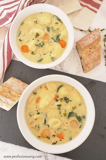 creamy gnocchi vegetarian soup